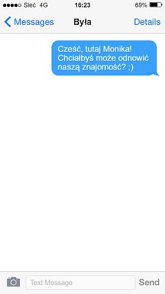 Przykład SMS - kobieta wraca po rozstaniu.